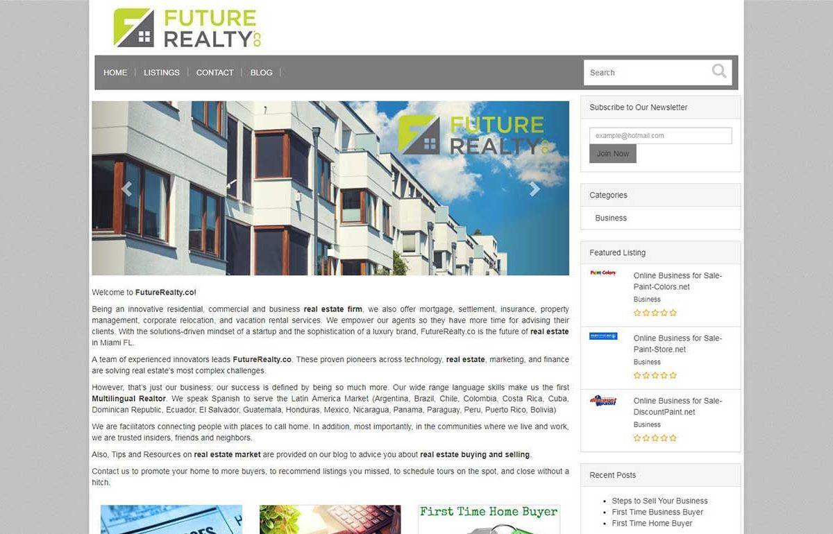Ecommerce-Website-Futurerealty-Miami-Fl
